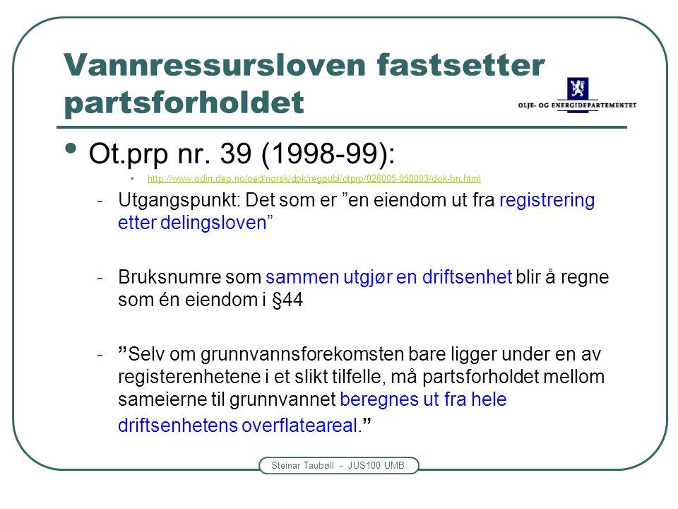 Steinar Taubøll - JUS100 UMB Vannressursloven fastsetter partsforholdet Ot.prp nr. 39 (1998-99): http://www.odin.dep.no/oed/norsk/dok/regpubl/otprp/02