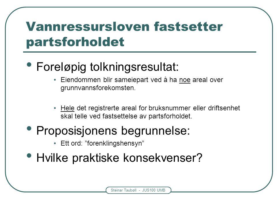 Steinar Taubøll - JUS100 UMB Vannressursloven fastsetter partsforholdet Foreløpig tolkningsresultat: Eiendommen blir sameiepart ved å ha noe areal over grunnvannsforekomsten.