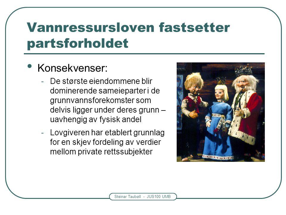 Steinar Taubøll - JUS100 UMB Vannressursloven fastsetter partsforholdet Konsekvenser: -De største eiendommene blir dominerende sameieparter i de grunnvannsforekomster som delvis ligger under deres grunn – uavhengig av fysisk andel -Lovgiveren har etablert grunnlag for en skjev fordeling av verdier mellom private rettssubjekter