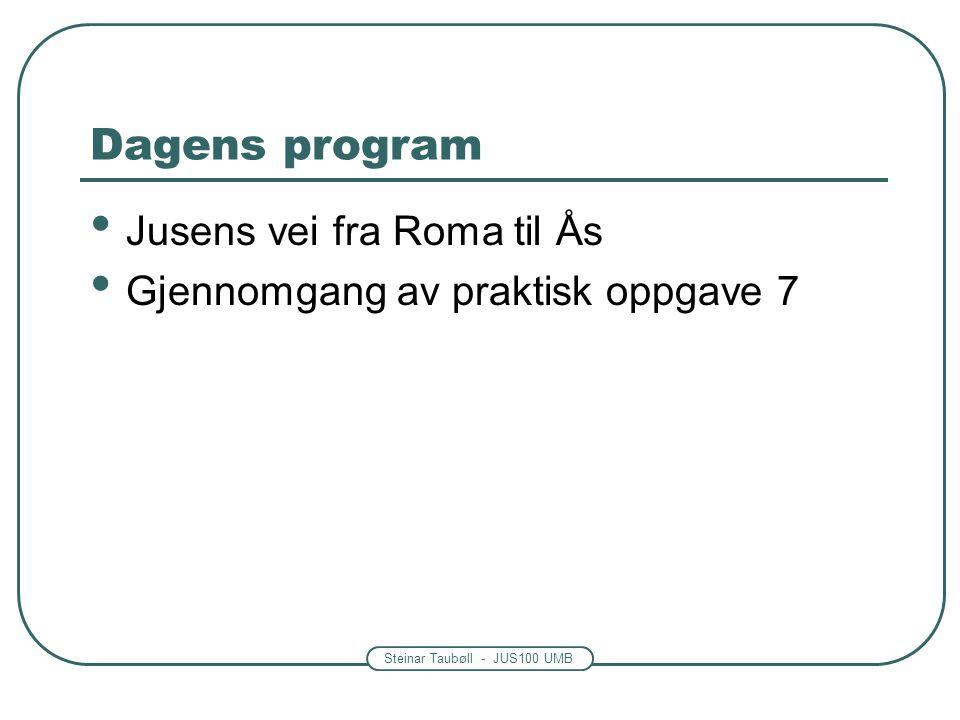 Steinar Taubøll - JUS100 UMB Dagens program Jusens vei fra Roma til Ås Gjennomgang av praktisk oppgave 7