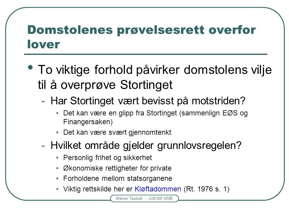 Steinar Taubøll - JUS100 UMB Domstolenes prøvelsesrett overfor lover To viktige forhold påvirker domstolens vilje til å overprøve Stortinget -Har Stortinget vært bevisst på motstriden.