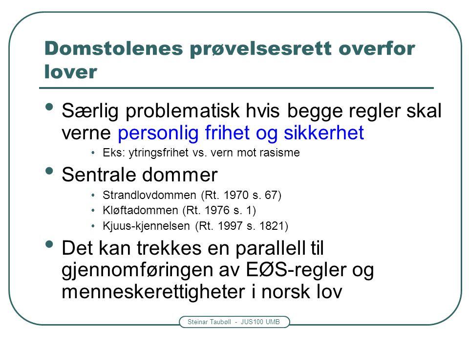 Steinar Taubøll - JUS100 UMB Domstolenes prøvelsesrett overfor lover Særlig problematisk hvis begge regler skal verne personlig frihet og sikkerhet Ek