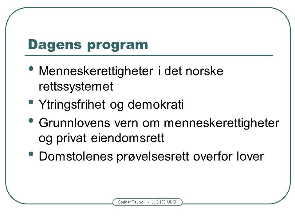 Steinar Taubøll - JUS100 UMB Dagens program Menneskerettigheter i det norske rettssystemet Ytringsfrihet og demokrati Grunnlovens vern om menneskerett
