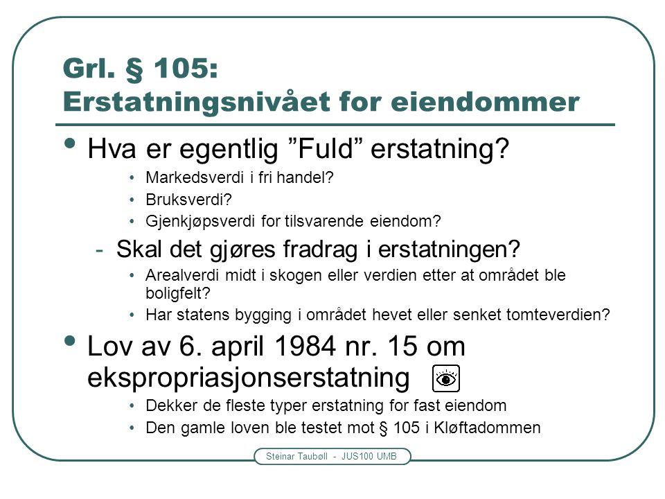 """Steinar Taubøll - JUS100 UMB Grl. § 105: Erstatningsnivået for eiendommer Hva er egentlig """"Fuld"""" erstatning? Markedsverdi i fri handel? Bruksverdi? Gj"""