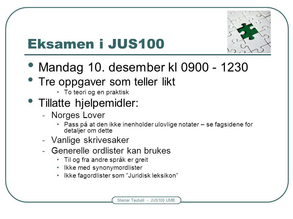 Steinar Taubøll - JUS100 UMB Eksamen i JUS100 Mandag 10. desember kl 0900 - 1230 Tre oppgaver som teller likt To teori og en praktisk Tillatte hjelpem