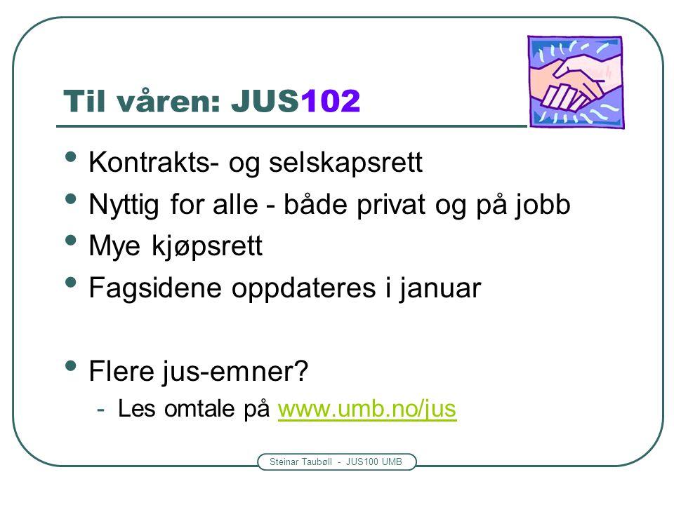 Steinar Taubøll - JUS100 UMB Til våren: JUS102 Kontrakts- og selskapsrett Nyttig for alle - både privat og på jobb Mye kjøpsrett Fagsidene oppdateres