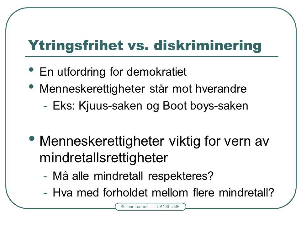 Steinar Taubøll - JUS100 UMB Ytringsfrihet vs. diskriminering En utfordring for demokratiet Menneskerettigheter står mot hverandre -Eks: Kjuus-saken o