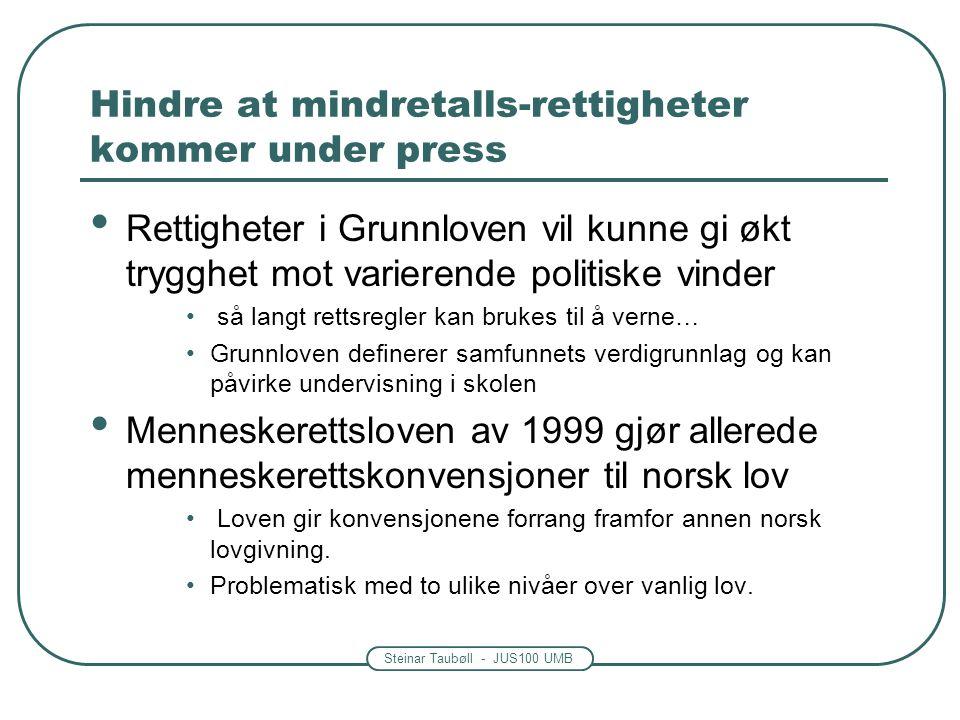 Steinar Taubøll - JUS100 UMB Hindre at mindretalls-rettigheter kommer under press Rettigheter i Grunnloven vil kunne gi økt trygghet mot varierende po