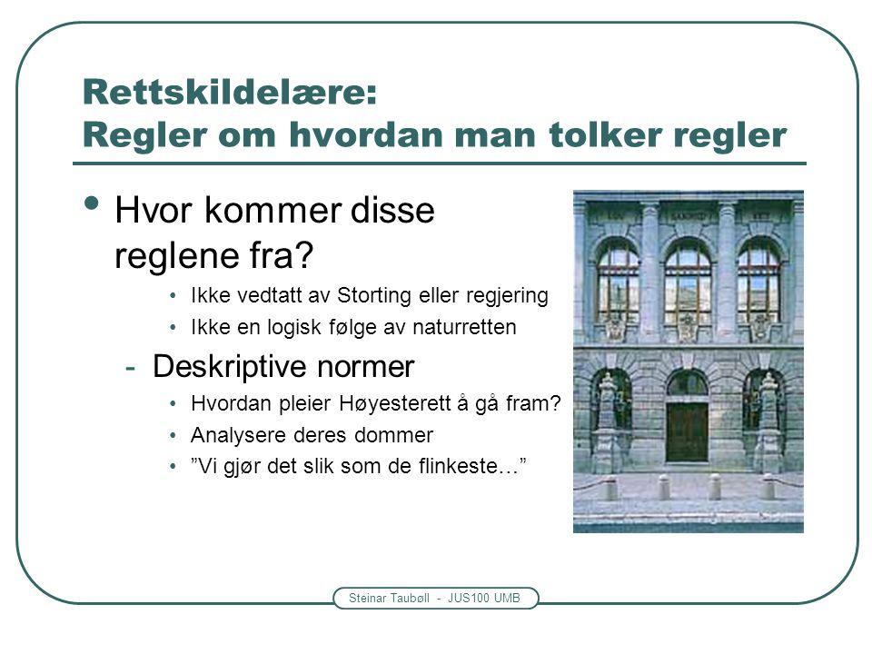 Steinar Taubøll - JUS100 UMB Rettskildelære: Regler om hvordan man tolker regler Hvor kommer disse reglene fra? Ikke vedtatt av Storting eller regjeri