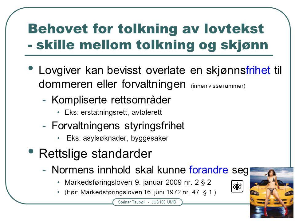 Steinar Taubøll - JUS100 UMB Behovet for tolkning av lovtekst - skille mellom tolkning og skjønn Lovgiver kan bevisst overlate en skjønnsfrihet til do