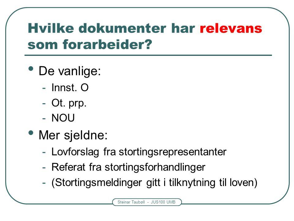 Steinar Taubøll - JUS100 UMB Hvilke dokumenter har relevans som forarbeider? De vanlige: -Innst. O -Ot. prp. -NOU Mer sjeldne: -Lovforslag fra stortin