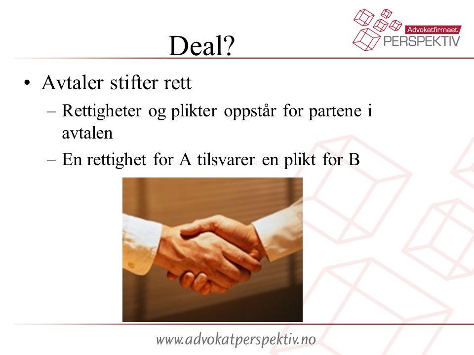 Deal? Avtaler stifter rett –Rettigheter og plikter oppstår for partene i avtalen –En rettighet for A tilsvarer en plikt for B