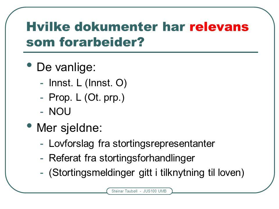 Steinar Taubøll - JUS100 UMB Hvilke dokumenter har relevans som forarbeider? De vanlige: -Innst. L (Innst. O) -Prop. L (Ot. prp.) -NOU Mer sjeldne: -L