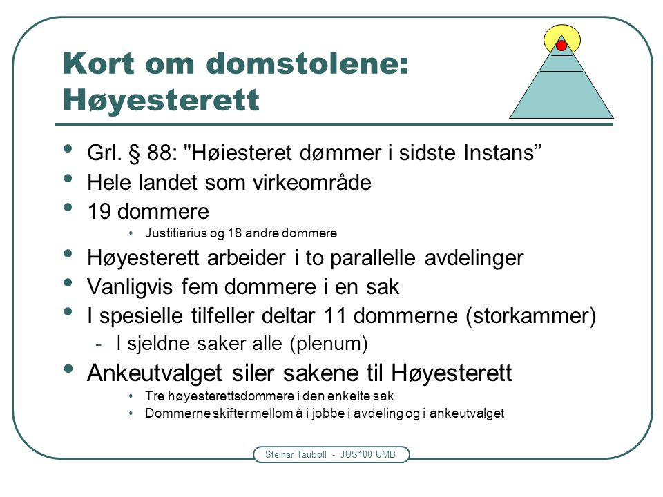 Steinar Taubøll - JUS100 UMB Kort om domstolene: Høyesterett Grl. § 88: