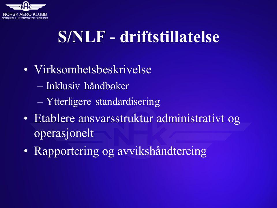 S/NLF - driftstillatelse Virksomhetsbeskrivelse –Inklusiv håndbøker –Ytterligere standardisering Etablere ansvarsstruktur administrativt og operasjonelt Rapportering og avvikshåndtereing