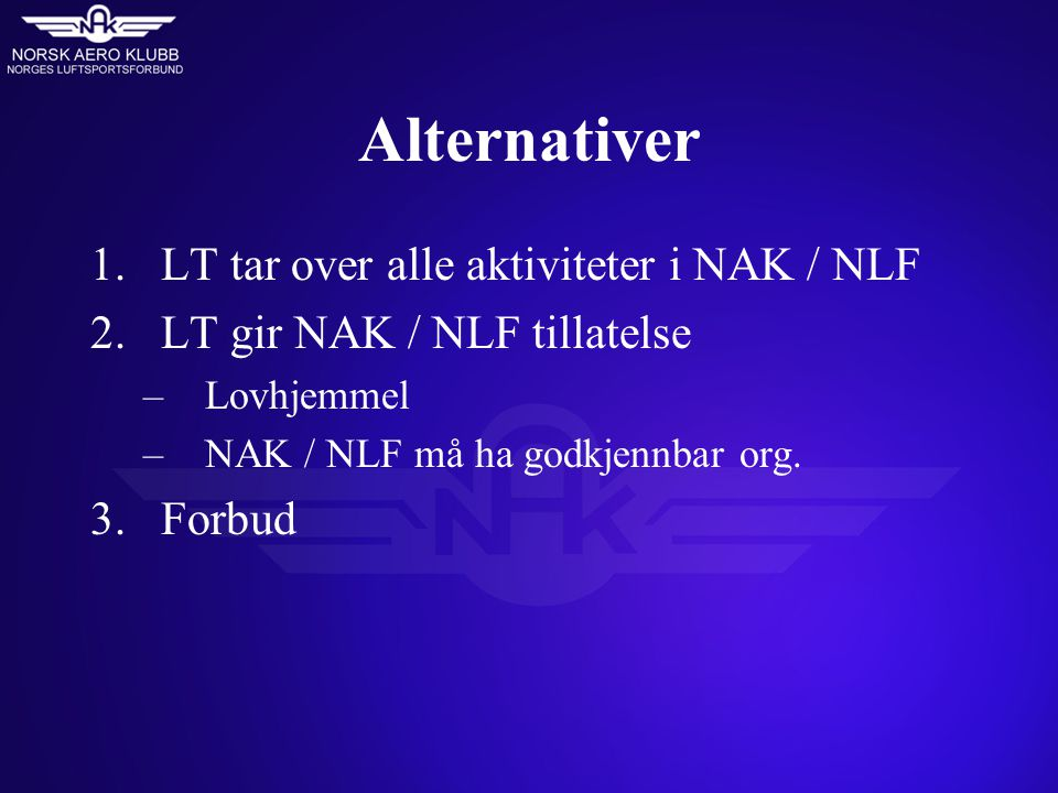 Alternativer 1.LT tar over alle aktiviteter i NAK / NLF 2.LT gir NAK / NLF tillatelse –Lovhjemmel –NAK / NLF må ha godkjennbar org.