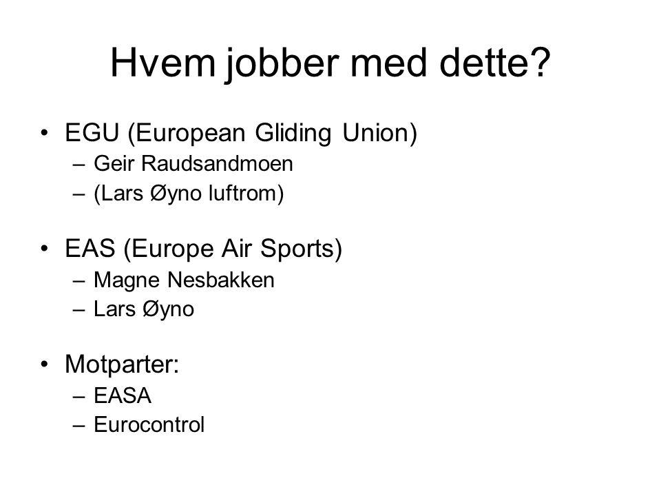 Hvem jobber med dette? EGU (European Gliding Union) –Geir Raudsandmoen –(Lars Øyno luftrom) EAS (Europe Air Sports) –Magne Nesbakken –Lars Øyno Motpar