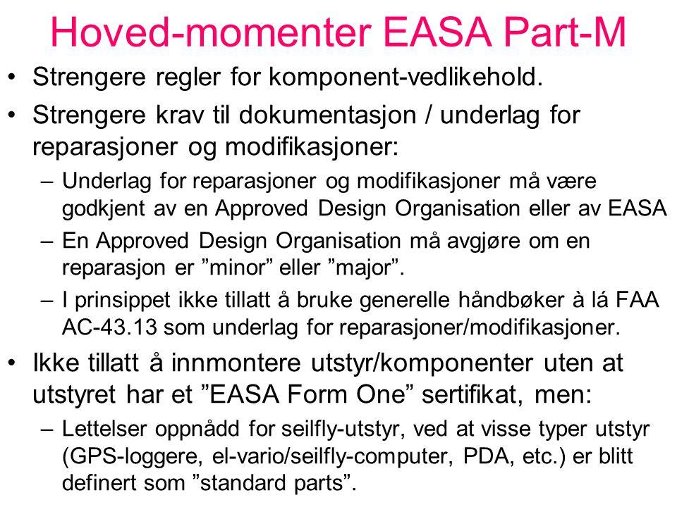 """Hoved-momenter EASA Part-M Alle luftfartøy må ha et individuelt vedlikeholdsprogram (Maintenance Programme), innen 28.09.2008. Part-M skiller mellom """""""