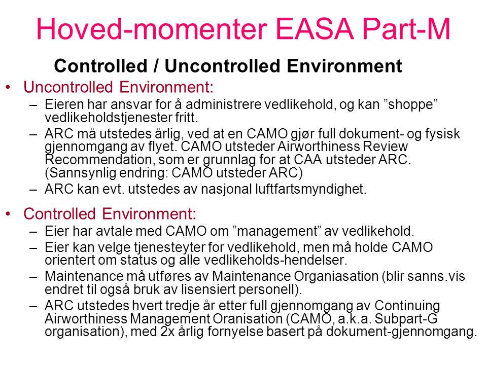 """Hoved-momenter EASA Part-M Evigvarende luftdyktighetsbevis, utstedt av """"the Competent Authority"""" (nasjonal luftfartsmyndighet, dvs. LT/CAA) Må ha gyld"""