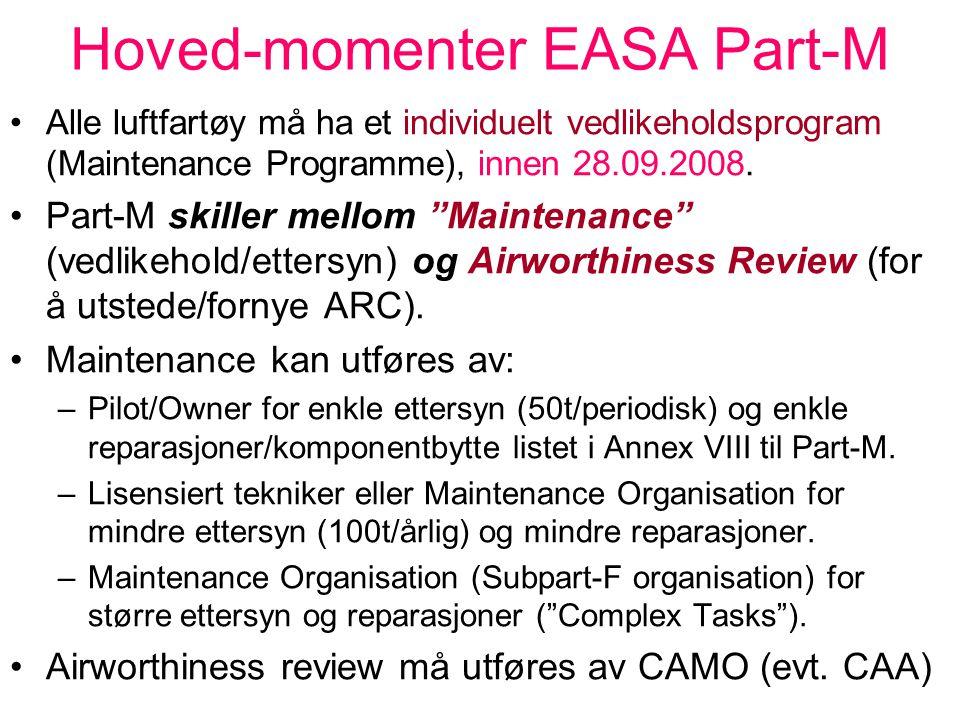 """Hoved-momenter EASA Part-M Controlled / Uncontrolled Environment Uncontrolled Environment: –Eieren har ansvar for å administrere vedlikehold, og kan """""""