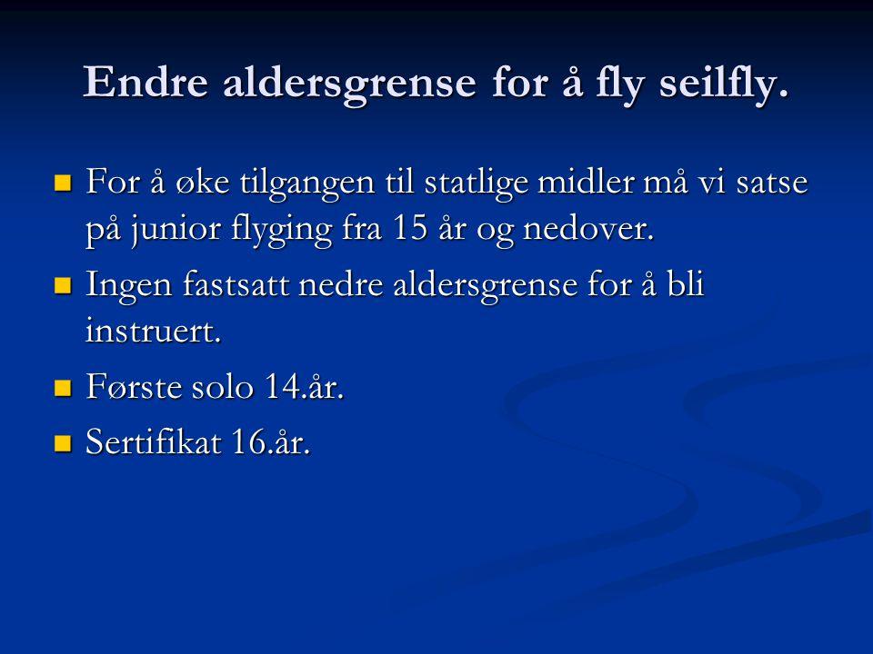 Endre aldersgrense for å fly seilfly.