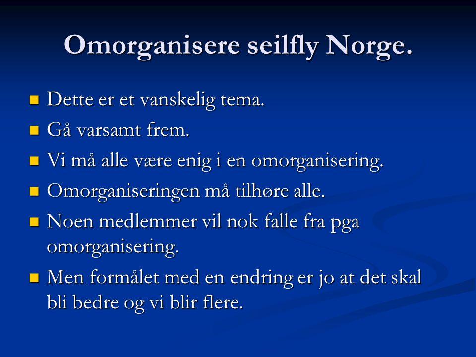 Omorganisere seilfly Norge. Dette er et vanskelig tema.