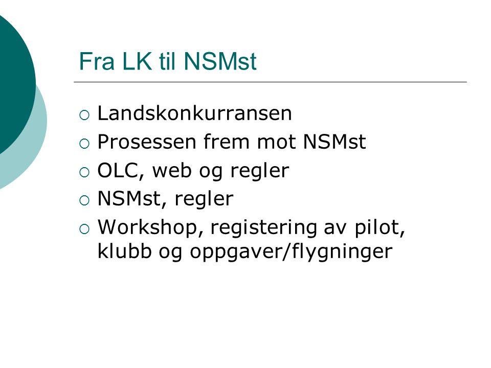 Fra LK til NSMst  Landskonkurransen  Prosessen frem mot NSMst  OLC, web og regler  NSMst, regler  Workshop, registering av pilot, klubb og oppgaver/flygninger