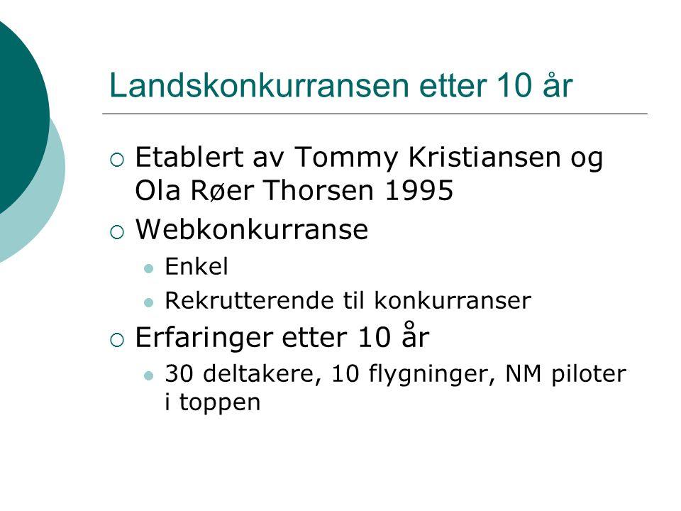 Landskonkurransen etter 10 år  Etablert av Tommy Kristiansen og Ola Røer Thorsen 1995  Webkonkurranse Enkel Rekrutterende til konkurranser  Erfaringer etter 10 år 30 deltakere, 10 flygninger, NM piloter i toppen
