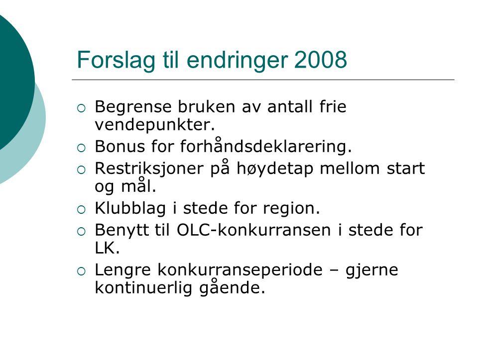 Forslag til endringer 2008  Begrense bruken av antall frie vendepunkter.