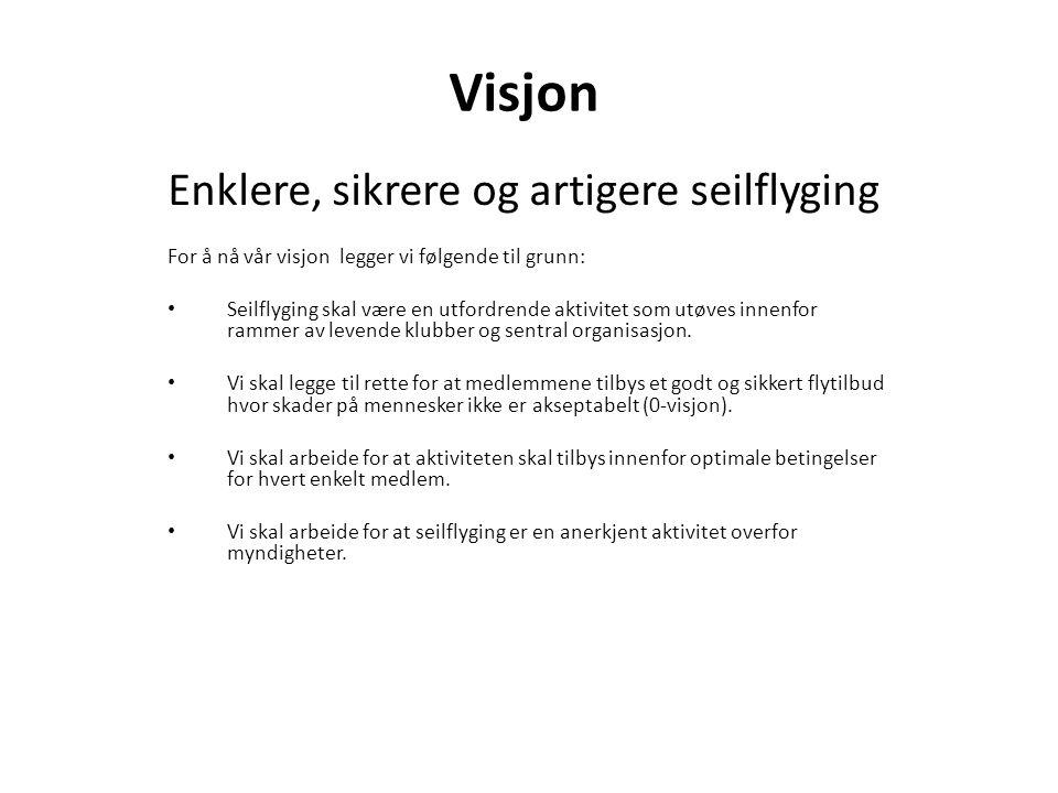 Visjon Enklere, sikrere og artigere seilflyging For å nå vår visjon legger vi følgende til grunn: Seilflyging skal være en utfordrende aktivitet som u