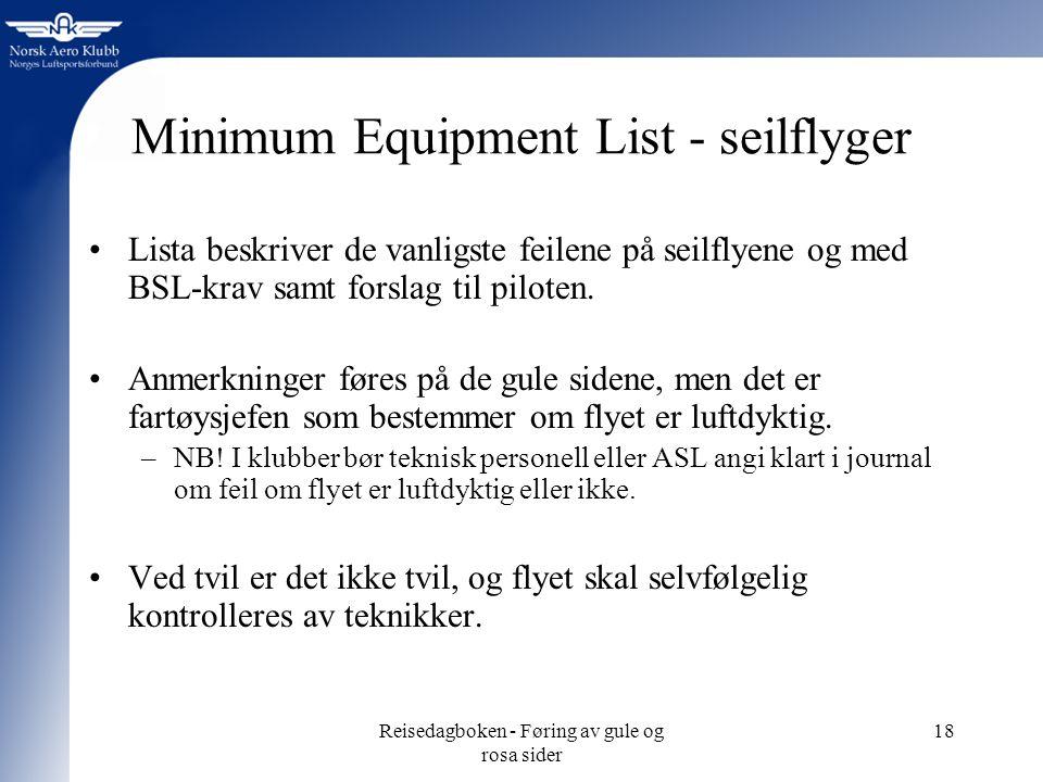 Reisedagboken - Føring av gule og rosa sider 18 Minimum Equipment List - seilflyger Lista beskriver de vanligste feilene på seilflyene og med BSL-krav samt forslag til piloten.