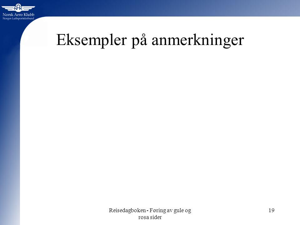 Reisedagboken - Føring av gule og rosa sider 19 Eksempler på anmerkninger