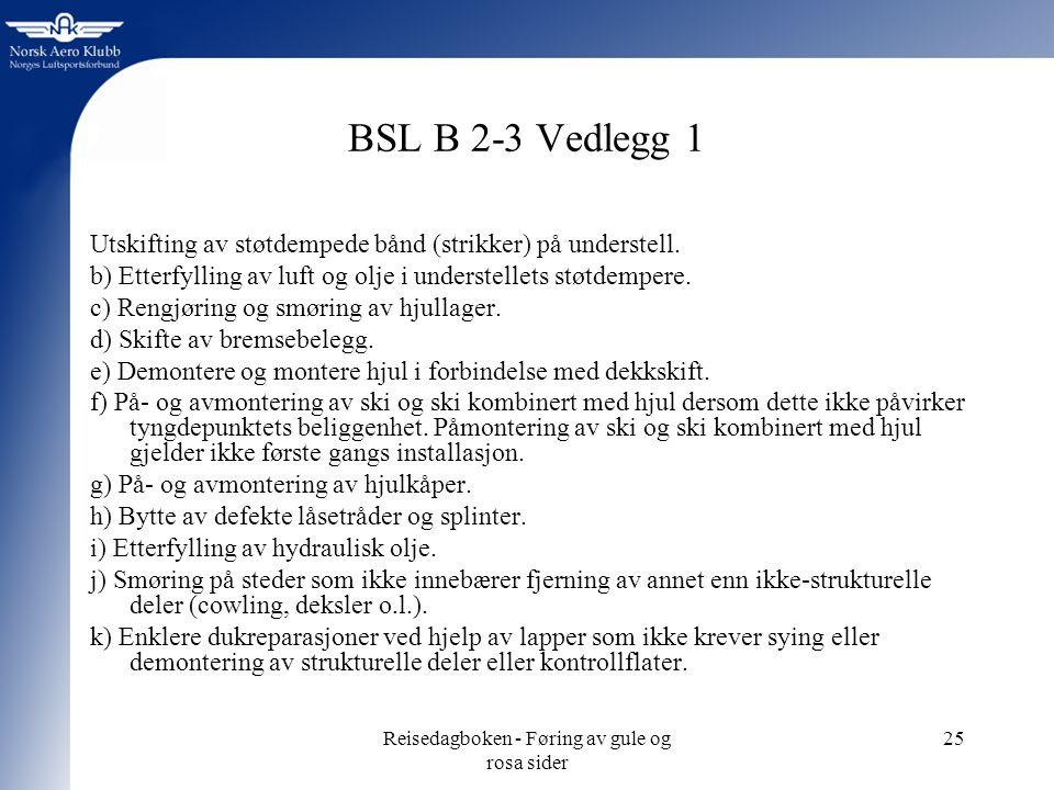 Reisedagboken - Føring av gule og rosa sider 25 BSL B 2-3 Vedlegg 1 Utskifting av støtdempede bånd (strikker) på understell.