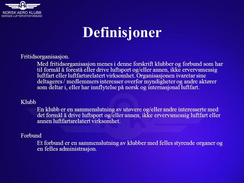 Definisjoner Fritidsorganisasjon.