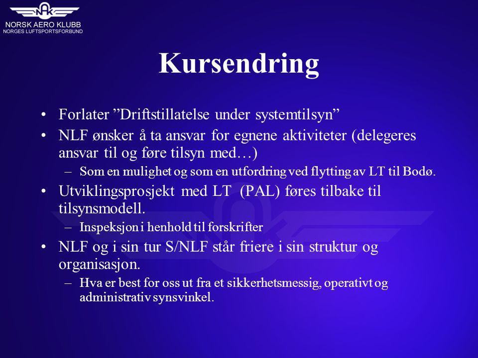 Kursendring Forlater Driftstillatelse under systemtilsyn NLF ønsker å ta ansvar for egnene aktiviteter (delegeres ansvar til og føre tilsyn med…) –Som en mulighet og som en utfordring ved flytting av LT til Bodø.