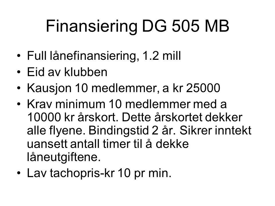 Finansiering DG 505 MB Full lånefinansiering, 1.2 mill Eid av klubben Kausjon 10 medlemmer, a kr 25000 Krav minimum 10 medlemmer med a 10000 kr årskor