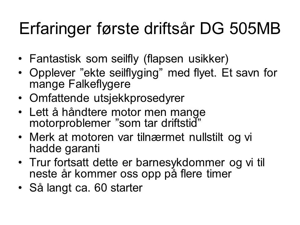 """Erfaringer første driftsår DG 505MB Fantastisk som seilfly (flapsen usikker) Opplever """"ekte seilflyging"""" med flyet. Et savn for mange Falkeflygere Omf"""