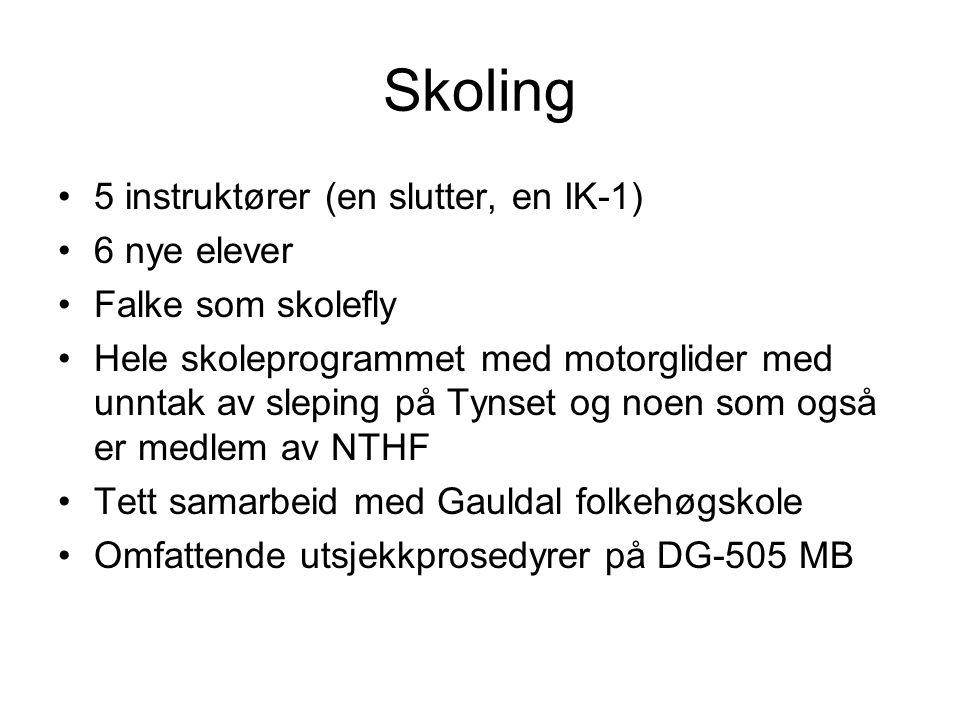 Skoling 5 instruktører (en slutter, en IK-1) 6 nye elever Falke som skolefly Hele skoleprogrammet med motorglider med unntak av sleping på Tynset og n