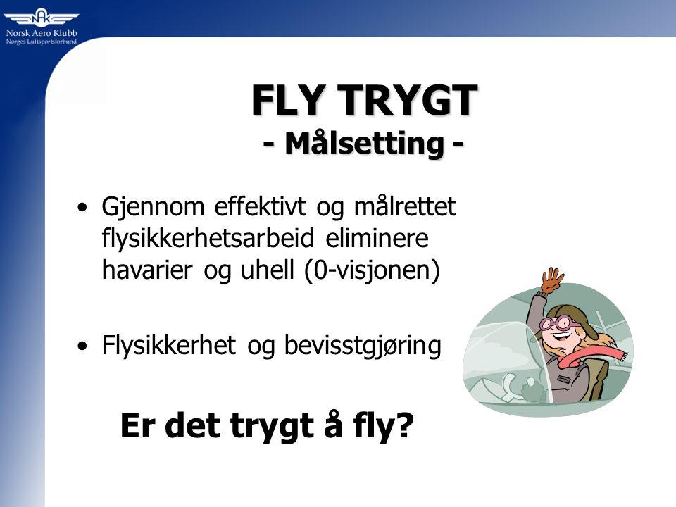 FLY TRYGT - Målsetting - Gjennom effektivt og målrettet flysikkerhetsarbeid eliminere havarier og uhell (0-visjonen) Flysikkerhet og bevisstgjøring Er det trygt å fly
