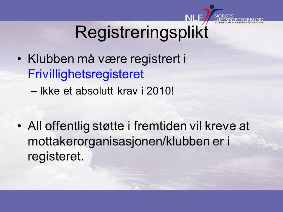Registreringsplikt Klubben må være registrert i Frivillighetsregisteret –Ikke et absolutt krav i 2010.