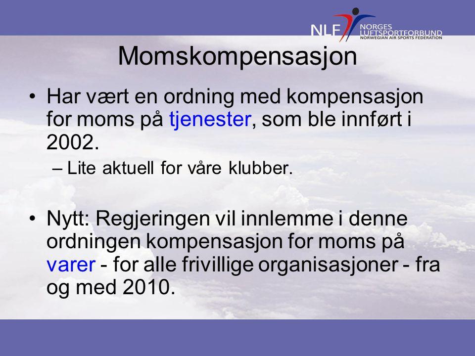 Momskompensasjon Har vært en ordning med kompensasjon for moms på tjenester, som ble innført i 2002.