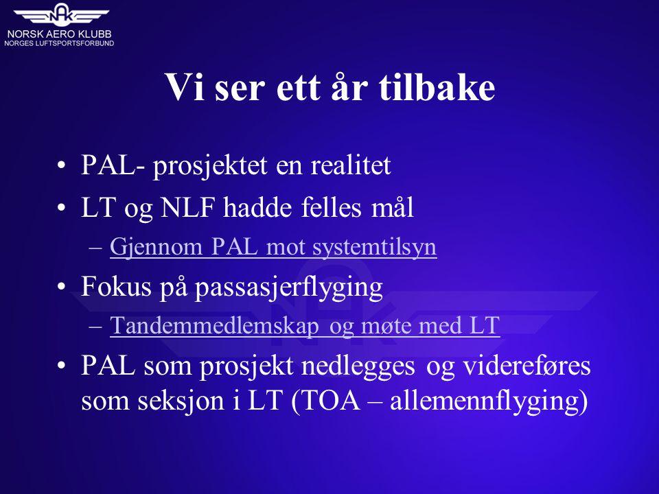 Vi ser ett år tilbake PAL- prosjektet en realitet LT og NLF hadde felles mål –Gjennom PAL mot systemtilsynGjennom PAL mot systemtilsyn Fokus på passas