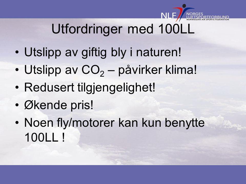 Utfordringer med 100LL Utslipp av giftig bly i naturen! Utslipp av CO 2 – påvirker klima! Redusert tilgjengelighet! Økende pris! Noen fly/motorer kan