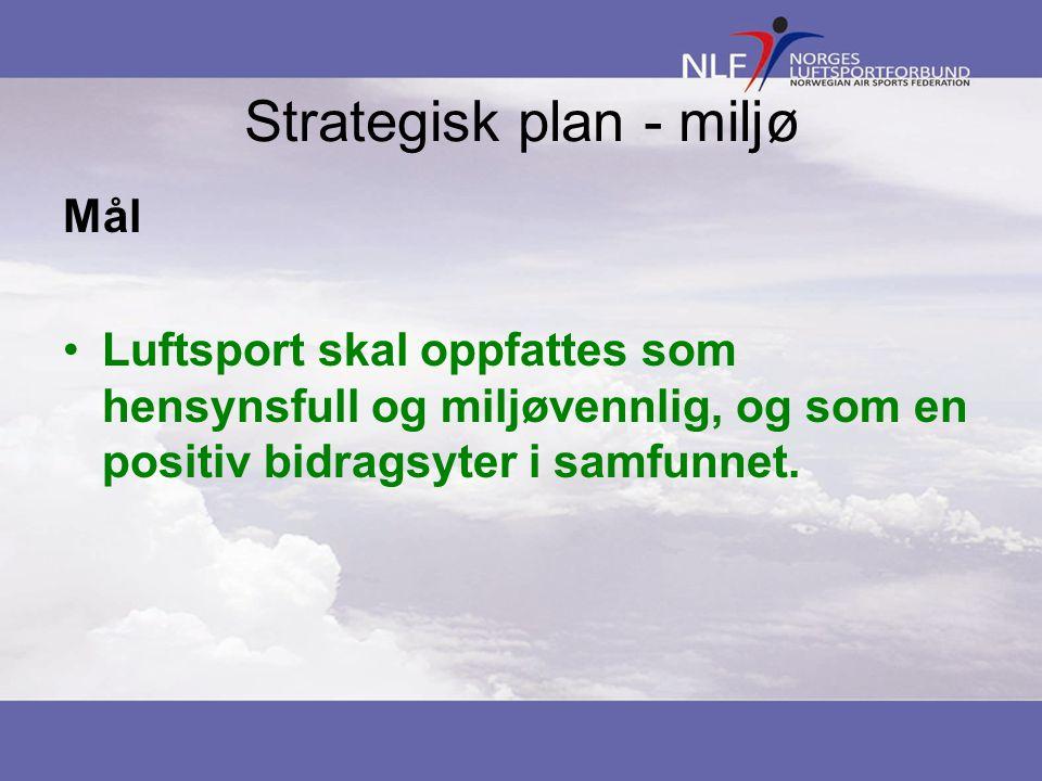 Strategisk plan - miljø Mål Luftsport skal oppfattes som hensynsfull og miljøvennlig, og som en positiv bidragsyter i samfunnet.