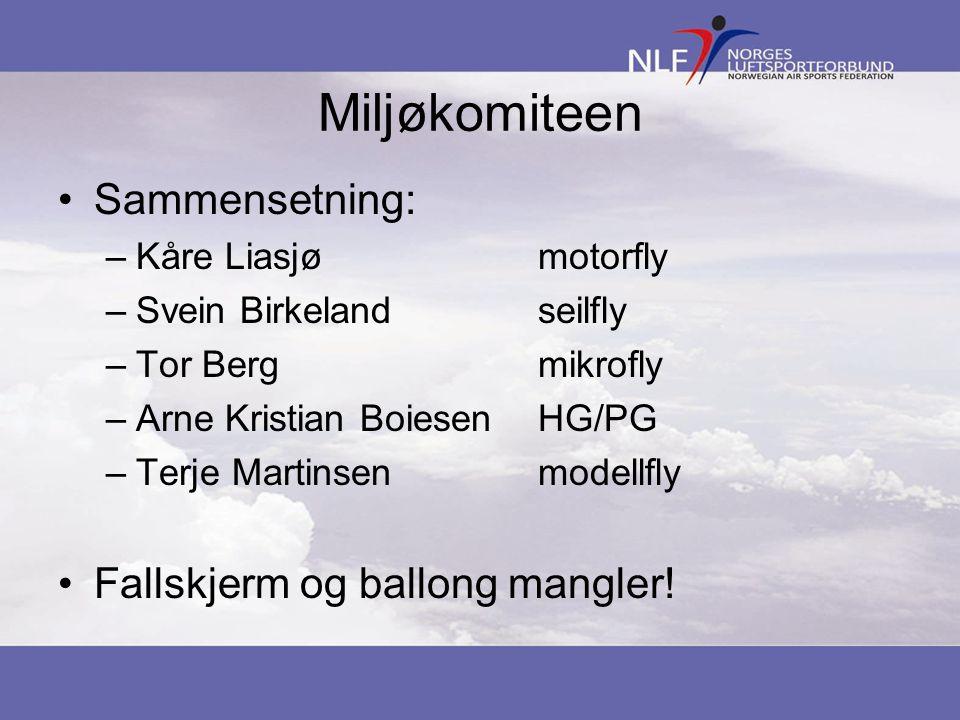 Miljøkomiteen Sammensetning: –Kåre Liasjømotorfly –Svein Birkelandseilfly –Tor Bergmikrofly –Arne Kristian BoiesenHG/PG –Terje Martinsenmodellfly Fall