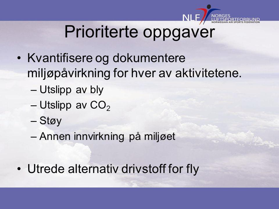 Prioriterte oppgaver Kvantifisere og dokumentere miljøpåvirkning for hver av aktivitetene. –Utslipp av bly –Utslipp av CO 2 –Støy –Annen innvirkning p