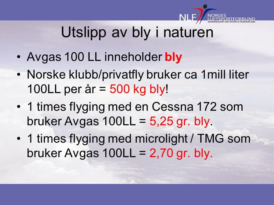 Utslipp av bly i naturen Avgas 100 LL inneholder bly Norske klubb/privatfly bruker ca 1mill liter 100LL per år = 500 kg bly! 1 times flyging med en Ce