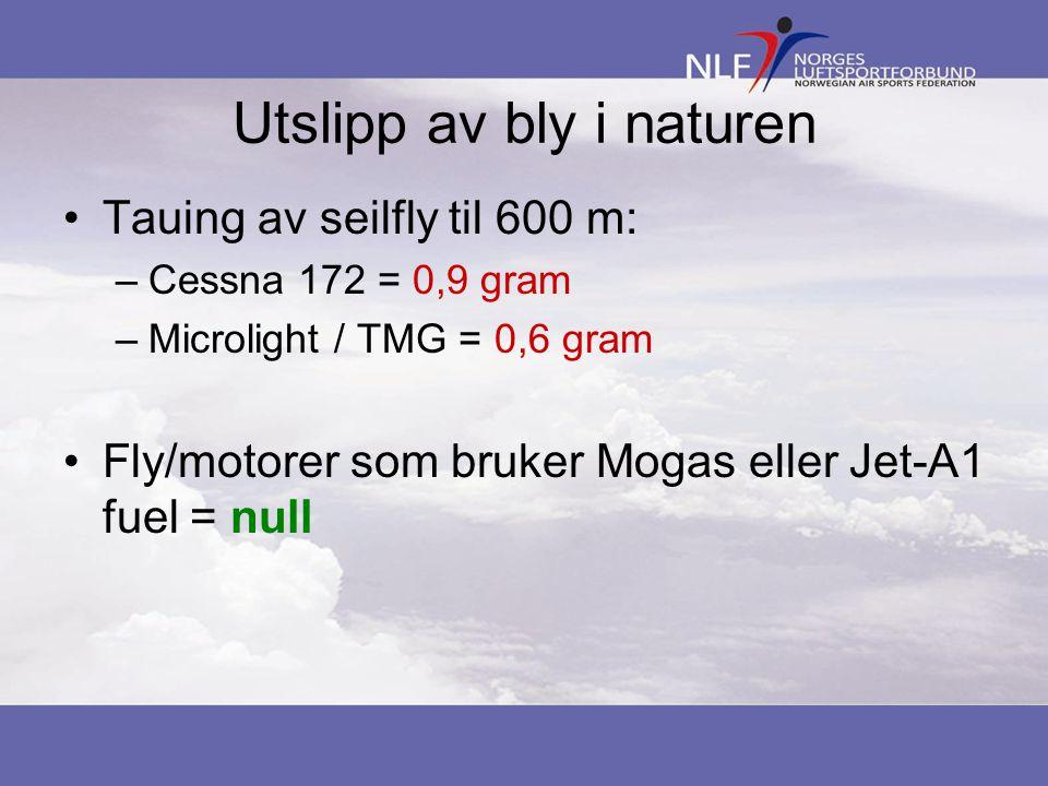 Utslipp av bly i naturen Tauing av seilfly til 600 m: –Cessna 172= 0,9 gram –Microlight / TMG = 0,6 gram Fly/motorer som bruker Mogas eller Jet-A1 fue