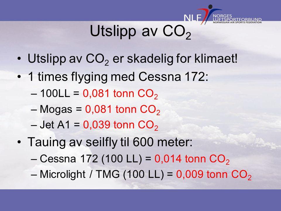 Utslipp av CO 2 Utslipp av CO 2 er skadelig for klimaet! 1 times flyging med Cessna 172: –100LL = 0,081 tonn CO 2 –Mogas = 0,081 tonn CO 2 –Jet A1 = 0