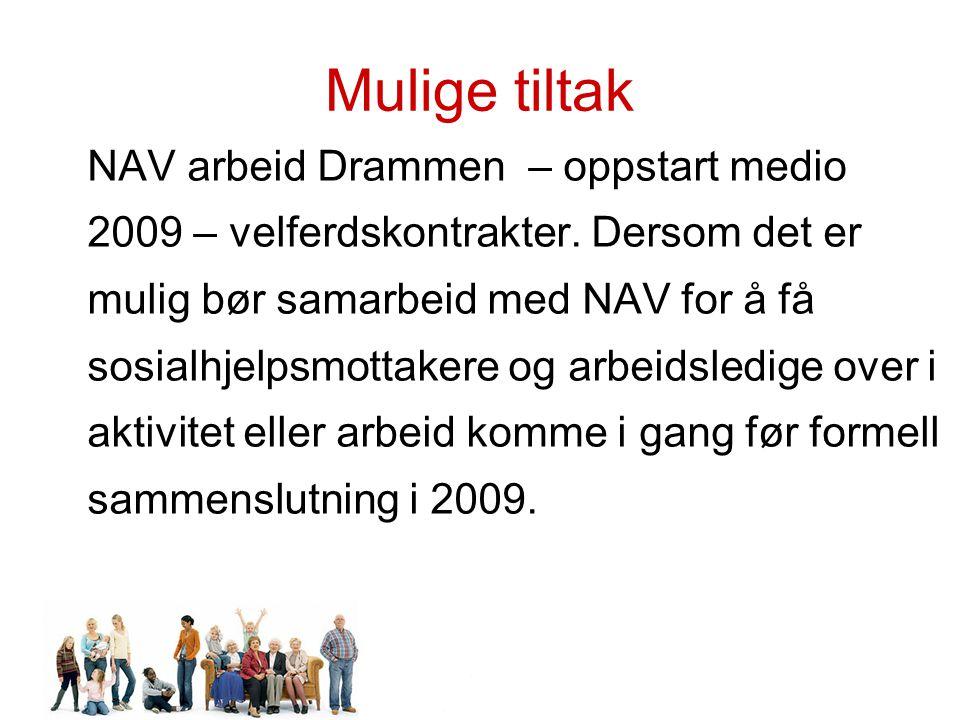 Mulige tiltak NAV arbeid Drammen – oppstart medio 2009 – velferdskontrakter.